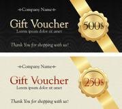 礼券 在典雅的背景的金丝带 与礼物价值的徽章 免版税库存图片