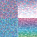 礼品券或优惠券卡集与五颜六色的几何三角背景模板 10个背景设计eps技术向量 向量例证