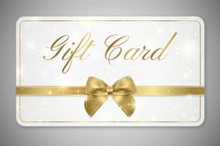 礼品券礼品券折扣、礼物优惠券与金黄丝带,金弓和特征模式 库存例证