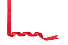 礼品包装材料的红色丝带 库存图片