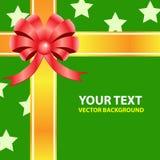 礼品在绿色背景的丝带弓。 免版税库存照片