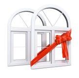 礼品塑料红色丝带视窗 向量例证