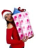 礼品女孩圣诞老人 免版税库存图片