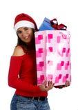 礼品女孩圣诞老人 库存图片