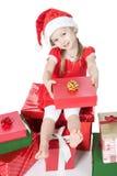 礼品女孩帽子一点圣诞老人白色 免版税库存照片