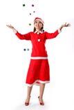 礼品女孩微小愉快的圣诞老人 免版税库存图片