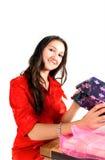 礼品女孩打开 库存图片