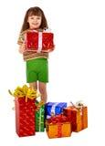 礼品女孩获得了节假日批次 免版税图库摄影