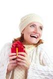 礼品愉快的微笑的妇女 库存照片
