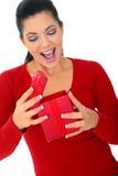 礼品空缺数目使妇女惊奇 库存照片