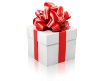 礼品红色丝带白色 免版税库存图片