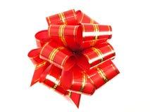 礼品节假日存在有条纹红色的丝带 库存照片