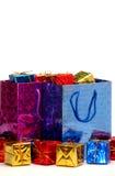 礼品袋子和配件箱 免版税库存照片