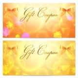 礼品赠券/看板卡模板(星形、弓,丝带) 免版税库存图片