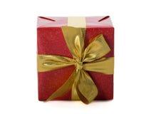 礼品金子红色丝带 库存照片