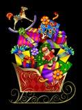 礼品s圣诞老人雪橇 免版税库存图片