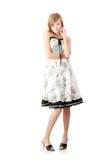 礼服典雅的女孩青少年的白色 库存照片