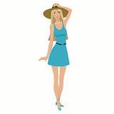 礼服和帽子的美丽的女孩 免版税库存照片