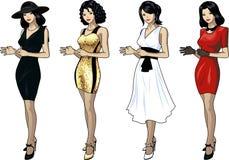 礼服套的美丽的亚裔妇女4设计 免版税库存照片