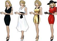 礼服套的美丽的白种人妇女4设计 免版税图库摄影