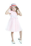 礼服女孩一点粉红色微笑 图库摄影