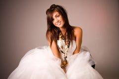 礼服女孩俏丽的婚礼 免版税库存图片
