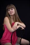 礼服女孩粉红色纵向 免版税图库摄影