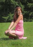 礼服女孩粉红色 库存图片
