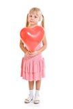 礼服女孩粉红色redballoon 图库摄影