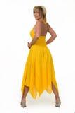礼服妇女黄色 库存图片