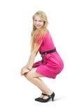 礼服性感女孩的粉红色 免版税图库摄影