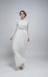 礼服性感的白人妇女 免版税库存照片