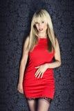 礼服时装模特儿红色性感 免版税库存图片