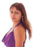 礼服查出的紫色性感的妇女年轻人 免版税图库摄影