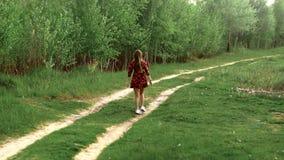 礼服步行的怀孕的女孩通过木头 影视素材