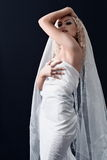 礼服的新娘与空白面纱 图库摄影