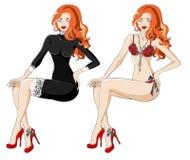 黑礼服的红发妇女有鞋带和内衣的 库存照片
