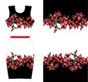礼服的红色百合印刷品设计 夏天秋天开花纺织品汇集 免版税库存图片
