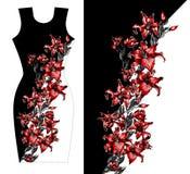 礼服的红色百合印刷品设计 夏天秋天开花纺织品汇集 免版税图库摄影