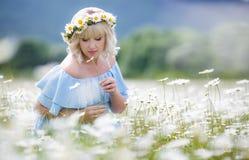 礼服的美丽的女孩在雏菊花田 免版税库存照片