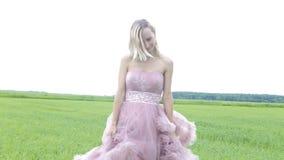 礼服的美丽的女孩在领域走 股票视频