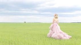 礼服的美丽的女孩在领域走 股票录像