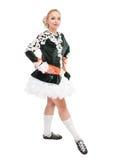礼服的美丽的妇女爱尔兰语的跳舞隔绝 库存照片