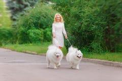 礼服的美丽的年轻白肤金发的女孩走与两条白色蓬松狗的在夏天庭院里 免版税库存照片
