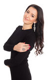 黑礼服的美丽的时兴的少妇 免版税图库摄影