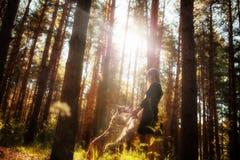 礼服的美女在有使用她的狗的森林里跳跃和 免版税库存照片