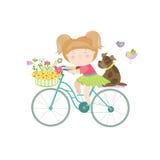 礼服的逗人喜爱的美丽的女孩骑自行车 免版税图库摄影