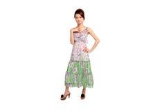 礼服的年轻亚裔妇女 免版税库存图片