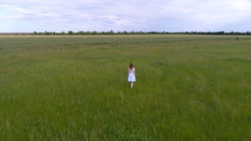 礼服的年轻美丽的女孩在绿色领域去 影视素材