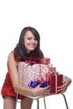 礼服礼品女孩纵向圣诞老人 库存照片